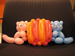 balloon cat bookends